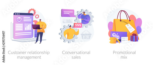 Fototapeta Marketing strategy icons set. Shop gifts and bonuses. Customer relationship management, conversational sales, promotional mix metaphors. Vector isolated concept metaphor illustrations obraz