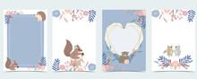 Blue Collection Of Woodland Frame Set With Leaf,leaves,squirrel,bear,hedgehog Vector Illustration For Birthday Invitation,postcard,logo And Sticker