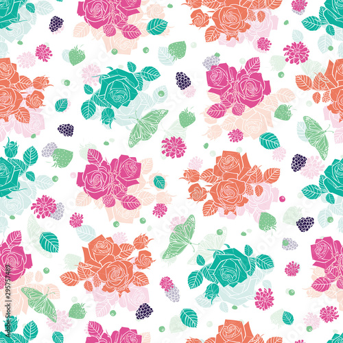 Fototapety, obrazy: Vector white spaced out roses and berries seamless pattern. Colorful solid elements with slightly transparent layer background. Perfect for fabric, scrapbooking and wallpaper projects.