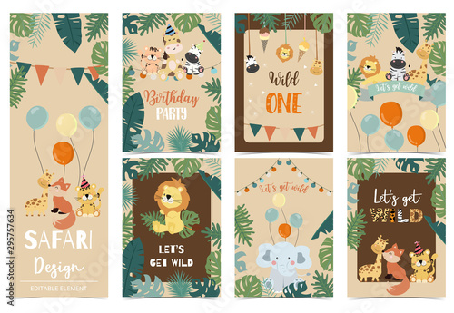 Collection of safari background set with giraffe,balloon,zebra,elephant,brown Wallpaper Mural