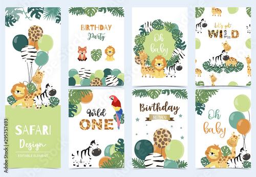 Collection of safari background set with giraffe,balloon,zebra,lion,green Canvas Print