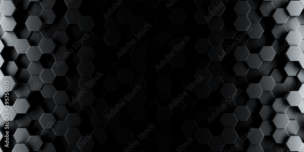 Fototapety, obrazy: Dark hexagon wallpaper or background - 3d render