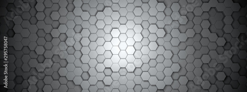 Stampa su Tela Dark hexagon wallpaper or background - 3d render
