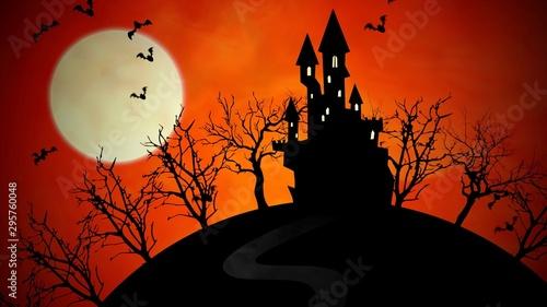 Keuken foto achterwand Diepbruine Halloween background with the castle and moon