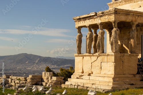 Greek ruins in the Acropolis of Athens, parthenon and caryatids Canvas Print