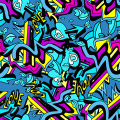 psychedelic graffiti lines and heart on a white background seamless pattern vector illustration