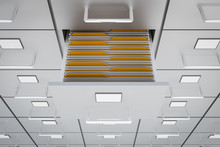 Filing Cabinets With Open Drawer - Data Collection Concept