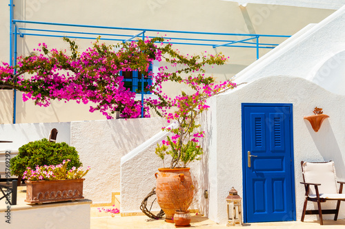 Cuadros en Lienzo Traditional greek architecture and decor with pink flowers on Santorini island, Greece