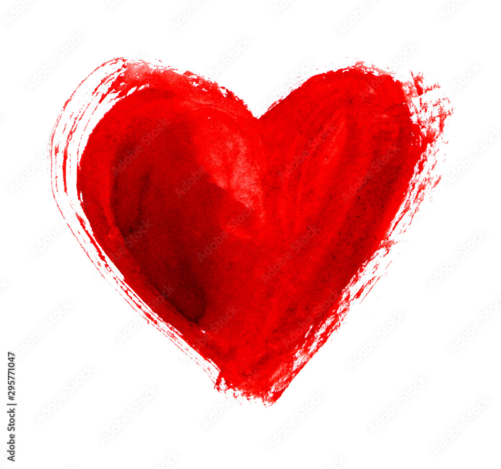 Fototapeta Hand-drawn painted red heart, element for design. Beautiful Grunge heart. Valentine's day. For holiday, postcard, poster, carnival, banner, birthday and children's illustration. Beautiful heart. Love