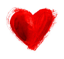 Hand-drawn Painted Red Heart, ...