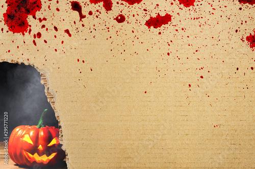 Halloween pumpkin behind corrugated paper box stain blood Wallpaper Mural