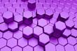 canvas print picture - Purple hexagon pattern - honeycomb concept