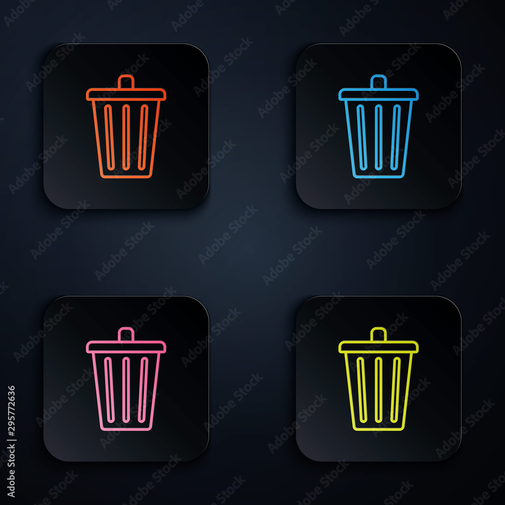 Fototapeta Color neon line Trash can icon isolated on white background. Garbage bin sign. Recycle basket icon. Office trash icon. Set icons in colorful square buttons. Vector Illustration