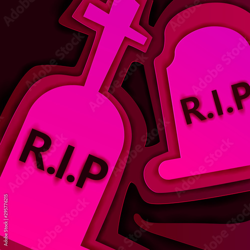 Recess Fitting Pink Paper art graveyard, Happy Halloween celebration concept, vector art and illustration.