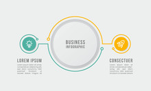 2 Steps Infographic Circles Shapes Chart. Green, Yellow, Grey Color. Vector Template