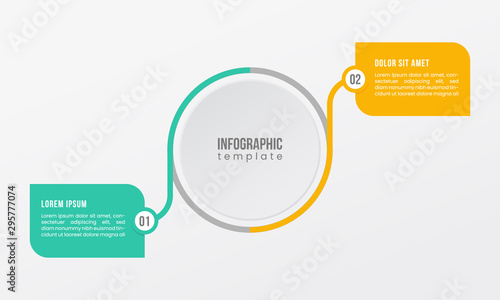 2 point step option business infographic template presentation timeline circle shape line element, with green and yellow. vector