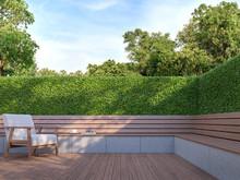 Wooden Bench In The Garden 3d ...