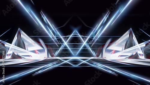 Photo Abstraction light tunnel, corridor, rays, lines