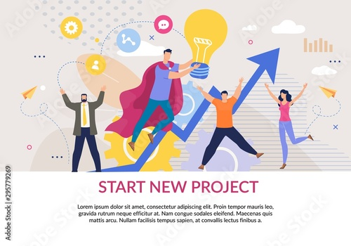 Plakat do biura  start-new-project-flat-poster-in-business-style