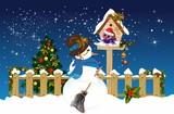 Fototapeta Do akwarium -  Christmas composition with snowman, bird booth and bird