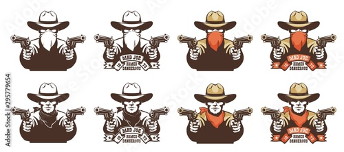 Canvas Print Cowboy bandit from the wild west with guns in his hands
