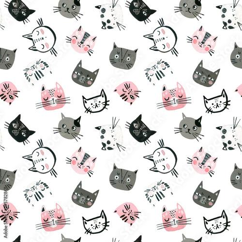 akwarela-slodkie-koty-twarze-bez-szwu