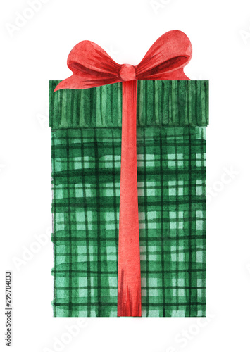 Slika na platnu A green checkered box with a lid and a red lush bow tied with a ribbon