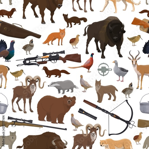 Photo Hunting equipment and animals seamless pattern