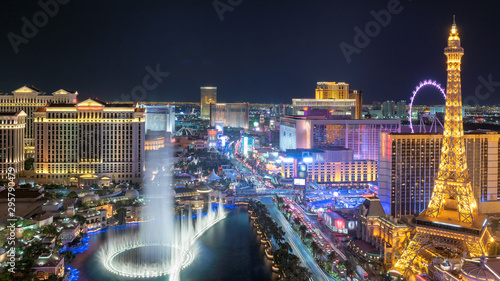 Las Vegas strip aerial view as seen at night Wallpaper Mural