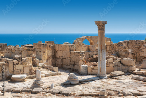 fototapeta na ścianę Cyprus ruins of ancient Kourion and Mediterranean sea on background, Limassol District, Cyprus
