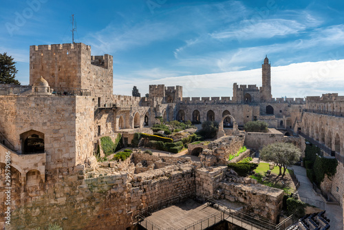 The Tower of David in ancient Jerusalem Citadel in Old City of Jerusalem, Israel.