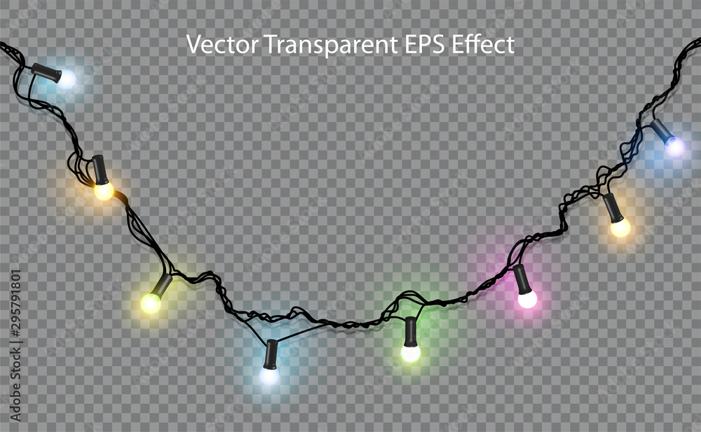 Fototapety, obrazy: Color garland on transparent background. Festive decorations. Highly realistic illustration.