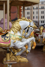 Horse Carousel Close-up. The H...
