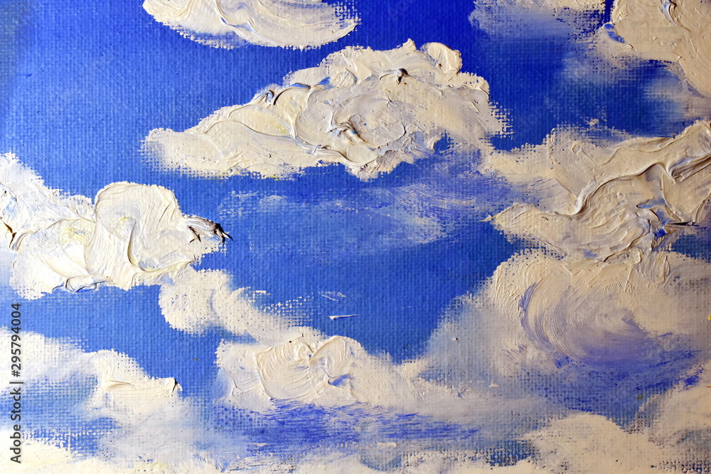 Painted clouds.  Oil painting.