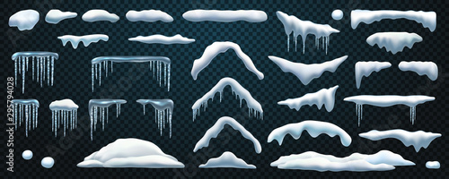 Fotografía Set of isolated snowdrift and icicle, snow cap and snowball, snowflake decoration or ice template, frost shape and snowfall object, snowbank