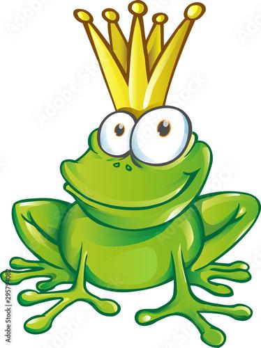 śliczna żaba książę maskotka postać z kreskówki. ilustracja