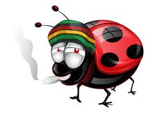 Happy Amaican Lady Bug Cartoon...