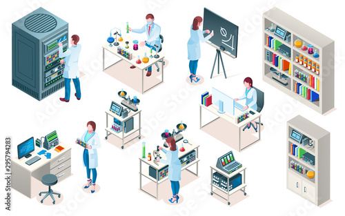 Stampa su Tela Set of isolated laboratory with scientist, isometric chemical or biological lab, medical or clinic pharmaceutical research, blood test laboratory