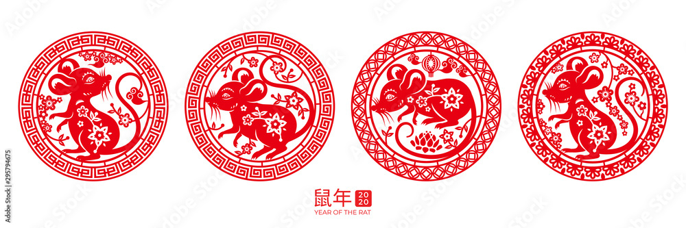 Fototapeta Set of isolated round signs with rat for happy 2020 chinese new year. Mouse in circle for china zodiac holiday or CNY. Papercut insignia for lunar calendar. Decoration or ornament with calligraphy
