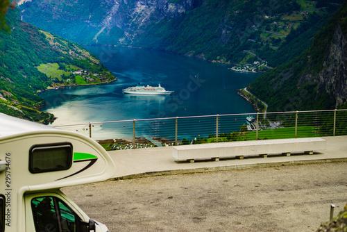 fototapeta na lodówkę Camper over fjord Geirangerfjord, Norway