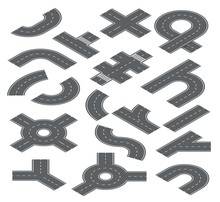 Road Isometric Elements. Traffic Streets, Auto Roads And Highway For City Map Navigation. Speedway, Crossroad And Footpath Vector Set. Illustration Road Highway, Traffic Part Speedway And Segments