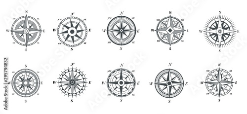 Vintage compass. Nautical wind rose, compasses for travel map, vintage marine navigation arrow symbols, retro outline vector set. Compass travel, old wind rose for sea adventure illustration