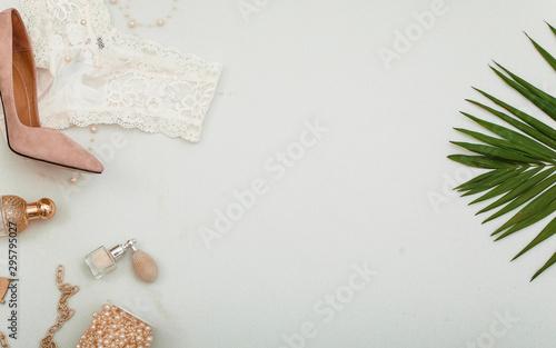 Obraz Beauty tools. Woman shoes. Background. Beauty. Shop.  - fototapety do salonu