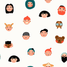 Various People And Bear. Faces...