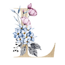 Letter L With Watercolor Flowe...