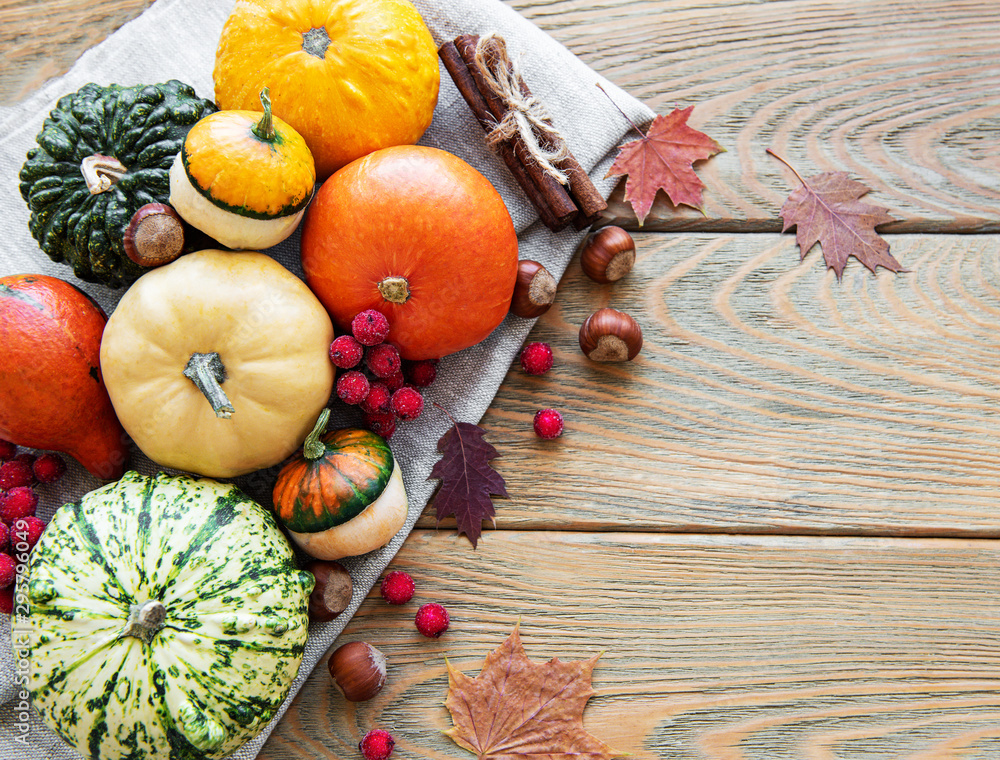 Fototapety, obrazy: Pumpkins on a wooden table