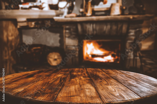 Desk of free space and fireplace Canvas Print