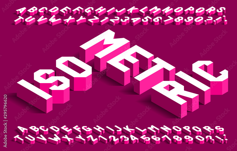 Fototapeta Isometric alphabet font. 3d effect simple geometric letters and numbers with shadow. Stock vector typeface for your design.