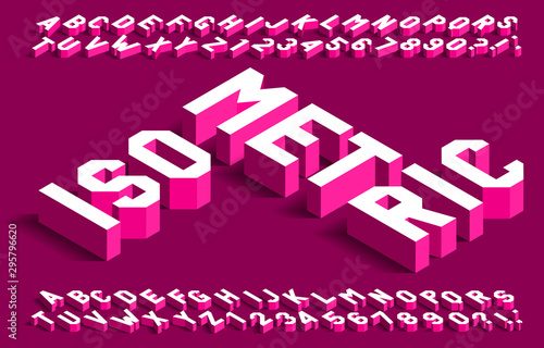 Fototapeta Isometric alphabet font. 3d effect simple geometric letters and numbers with shadow. Stock vector typeface for your design. obraz