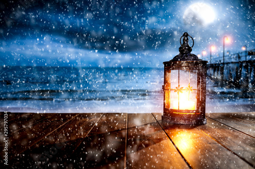 Poster Individuel Winter background of free space for your decoration and christmas time